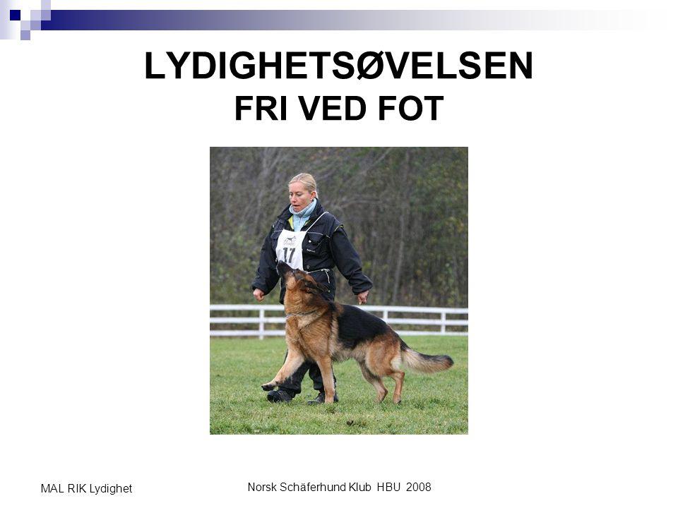 Norsk Schäferhund Klub HBU 2008 MAL RIK Lydighet SAMORDNE ØVELSEN Når H kan alle momentene i fase 1, er tiden moden for sette disse sammen til full øvelse fri ved fot .