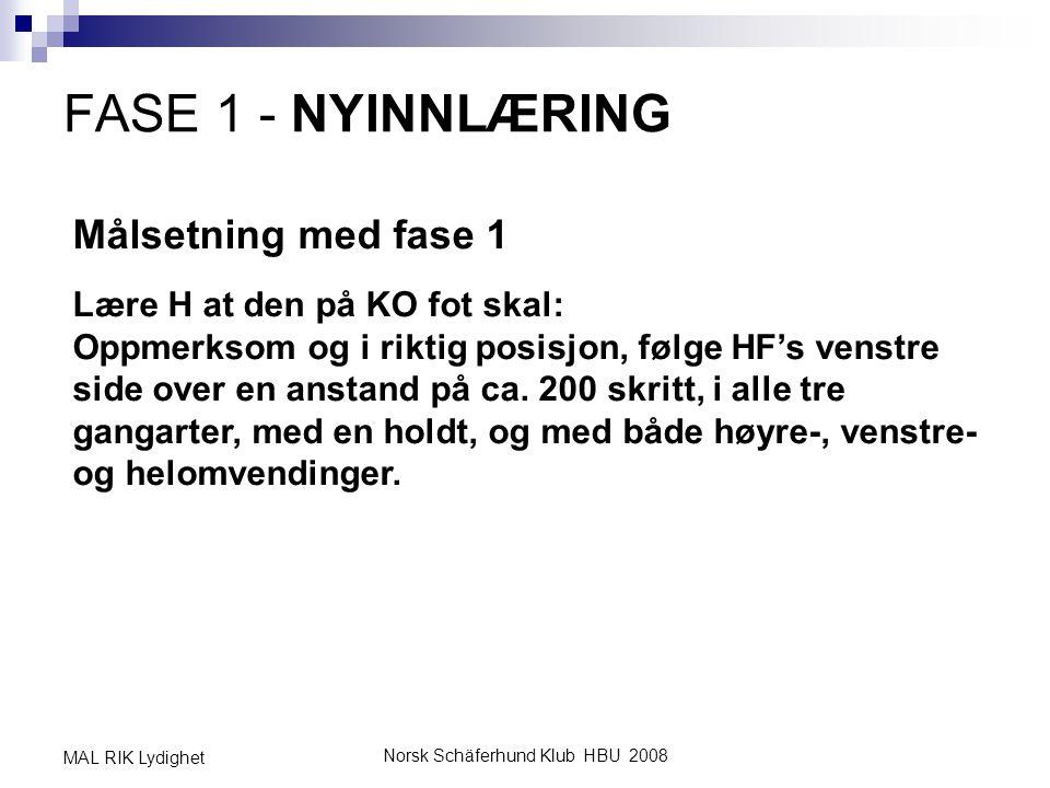 Norsk Schäferhund Klub HBU 2008 MAL RIK Lydighet FASE 1 - NYINNLÆRING Målsetning med fase 1 Lære H at den på KO fot skal: Oppmerksom og i riktig posis