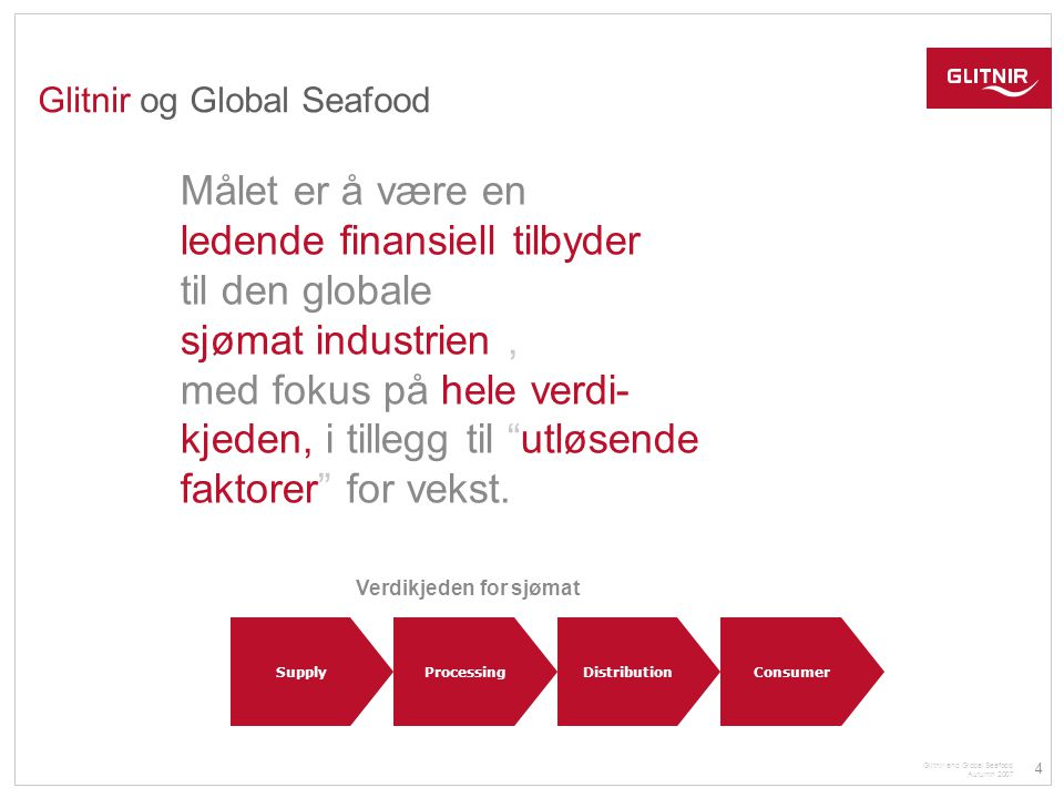 5 Glitnir and Global Seafood Autumn 2007 Glitnir og Global Seafood SEAFOOD FOCUS • Catch / Aquaculture • Primary and secondary processing • Trading and distribution • Retail / consumer » SEAFOOD – OUR FOCUS & AREA OF EXPERTISE Industry partners and networks across the sector world-wide  Hjemme marked defineres i dag som Island og Norge  Dette er økonomier som er og har vært tungt avhengig av sjømatindustrien  Bl.a.