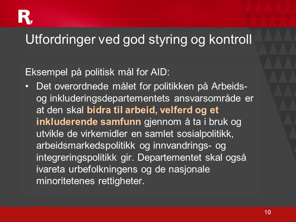 10 Eksempel på politisk mål for AID: •Det overordnede målet for politikken på Arbeids- og inkluderingsdepartementets ansvarsområde er at den skal bidr