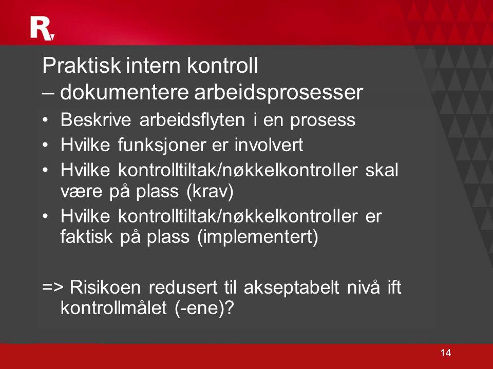 14 Praktisk intern kontroll – dokumentere arbeidsprosesser •Beskrive arbeidsflyten i en prosess •Hvilke funksjoner er involvert •Hvilke kontrolltiltak