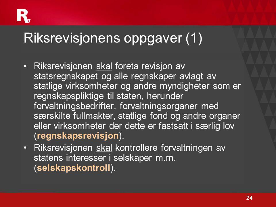 24 Riksrevisjonens oppgaver (1) •Riksrevisjonen skal foreta revisjon av statsregnskapet og alle regnskaper avlagt av statlige virksomheter og andre my