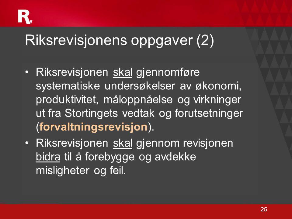 25 Riksrevisjonens oppgaver (2) •Riksrevisjonen skal gjennomføre systematiske undersøkelser av økonomi, produktivitet, måloppnåelse og virkninger ut f