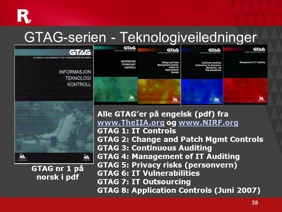 38 GTAG-serien - Teknologiveiledninger Alle GTAG'er på engelsk (pdf) fra www.TheIIA.org og www.NIRF.org www.TheIIA.orgwww.NIRF.org GTAG 1: IT Controls