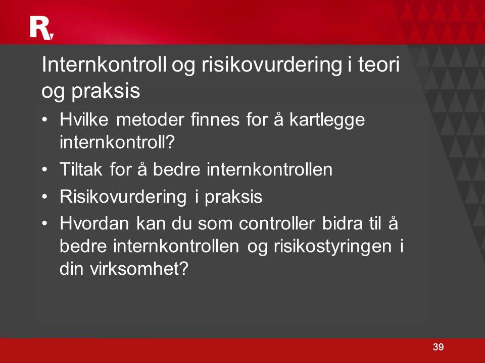 39 Internkontroll og risikovurdering i teori og praksis •Hvilke metoder finnes for å kartlegge internkontroll? •Tiltak for å bedre internkontrollen •R