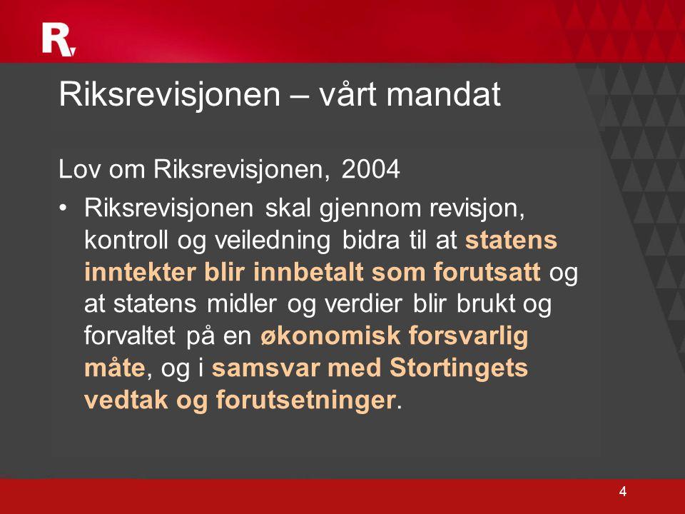 4 Riksrevisjonen – vårt mandat Lov om Riksrevisjonen, 2004 •Riksrevisjonen skal gjennom revisjon, kontroll og veiledning bidra til at statens inntekte