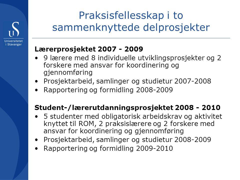 Praksisfellesskap i to sammenknyttede delprosjekter Lærerprosjektet 2007 - 2009 •9 lærere med 8 individuelle utviklingsprosjekter og 2 forskere med an