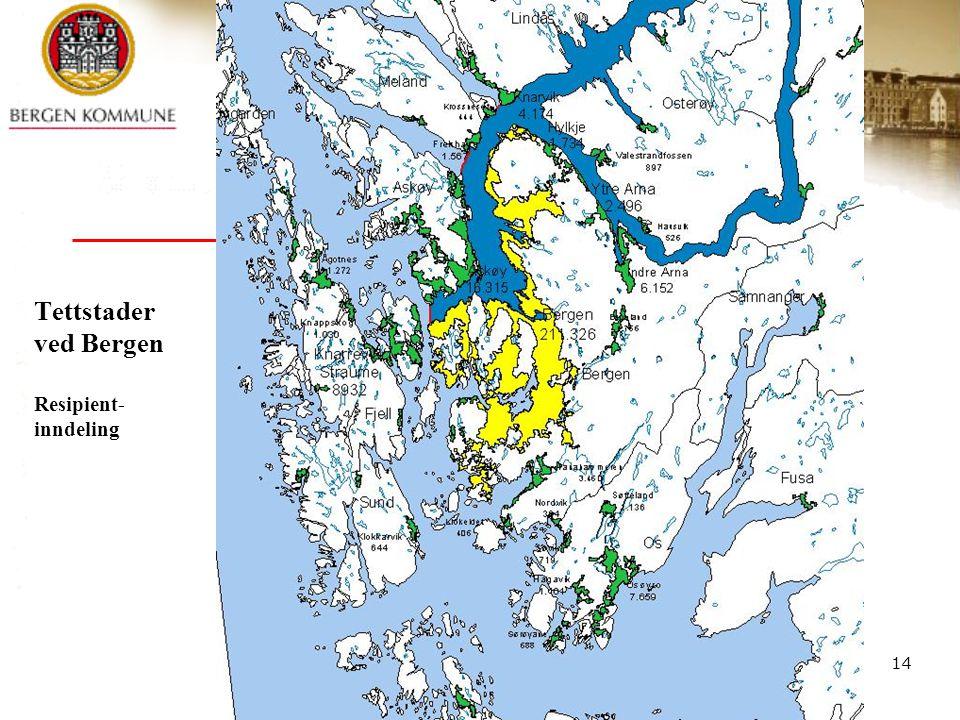 Rensing av avløpsvann 12.-13. april -05. Synspunkter på avløpsforskriften - Bergen © Bergen kommune 14 Tettstader ved Bergen Resipient- inndeling