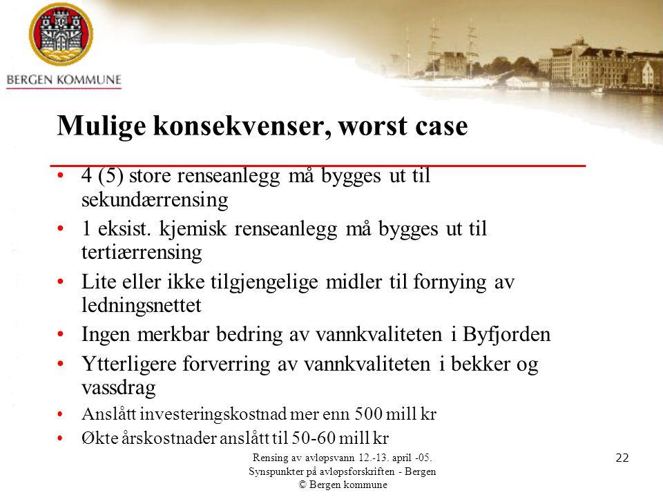 Rensing av avløpsvann 12.-13. april -05. Synspunkter på avløpsforskriften - Bergen © Bergen kommune 22 Mulige konsekvenser, worst case •4 (5) store re