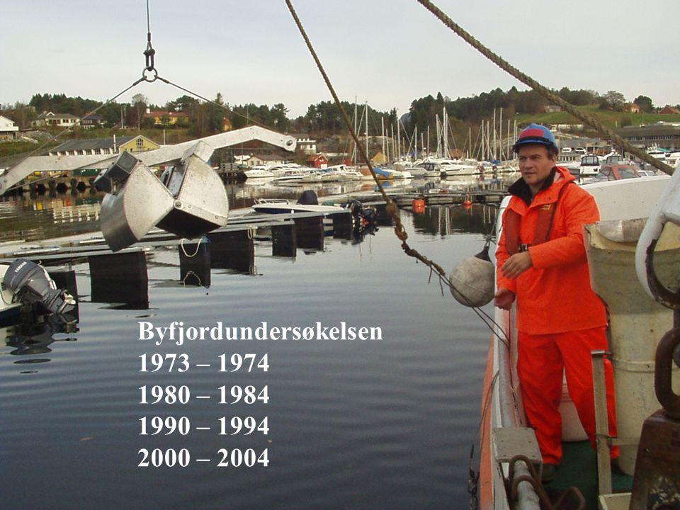 Rensing av avløpsvann 12.-13. april -05. Synspunkter på avløpsforskriften - Bergen © Bergen kommune 4 Byfjordundersøkelsen 1973 – 1974 1980 – 1984 199