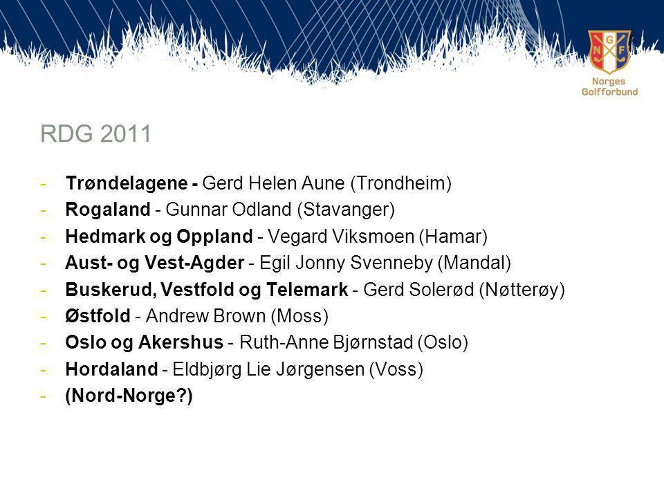 RDG 2011 -Trøndelagene - Gerd Helen Aune (Trondheim) -Rogaland - Gunnar Odland (Stavanger) -Hedmark og Oppland - Vegard Viksmoen (Hamar) -Aust- og Vest-Agder - Egil Jonny Svenneby (Mandal) -Buskerud, Vestfold og Telemark - Gerd Solerød (Nøtterøy) -Østfold - Andrew Brown (Moss) -Oslo og Akershus - Ruth-Anne Bjørnstad (Oslo) -Hordaland - Eldbjørg Lie Jørgensen (Voss) -(Nord-Norge )