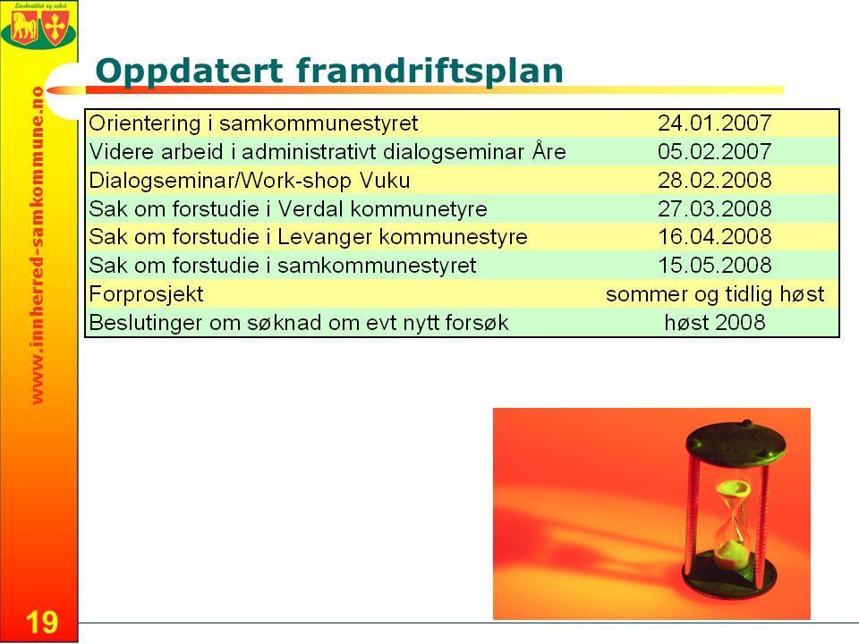 www.innherred-samkommune.no 19 Oppdatert framdriftsplan