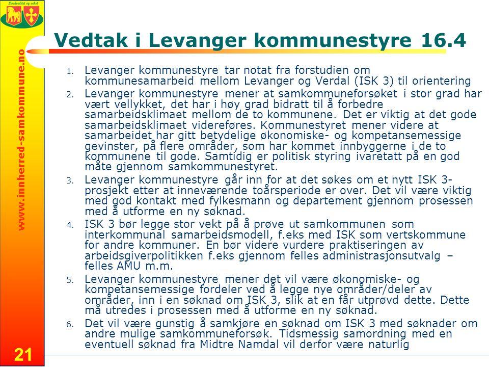 www.innherred-samkommune.no 21 Vedtak i Levanger kommunestyre 16.4 1.