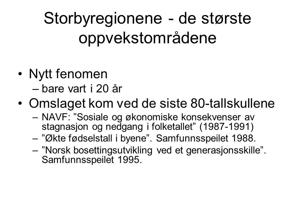 Storbyregionene - de største oppvekstområdene •Nytt fenomen –bare vart i 20 år •Omslaget kom ved de siste 80-tallskullene –NAVF: Sosiale og økonomiske konsekvenser av stagnasjon og nedgang i folketallet (1987-1991) – Økte fødselstall i byene .