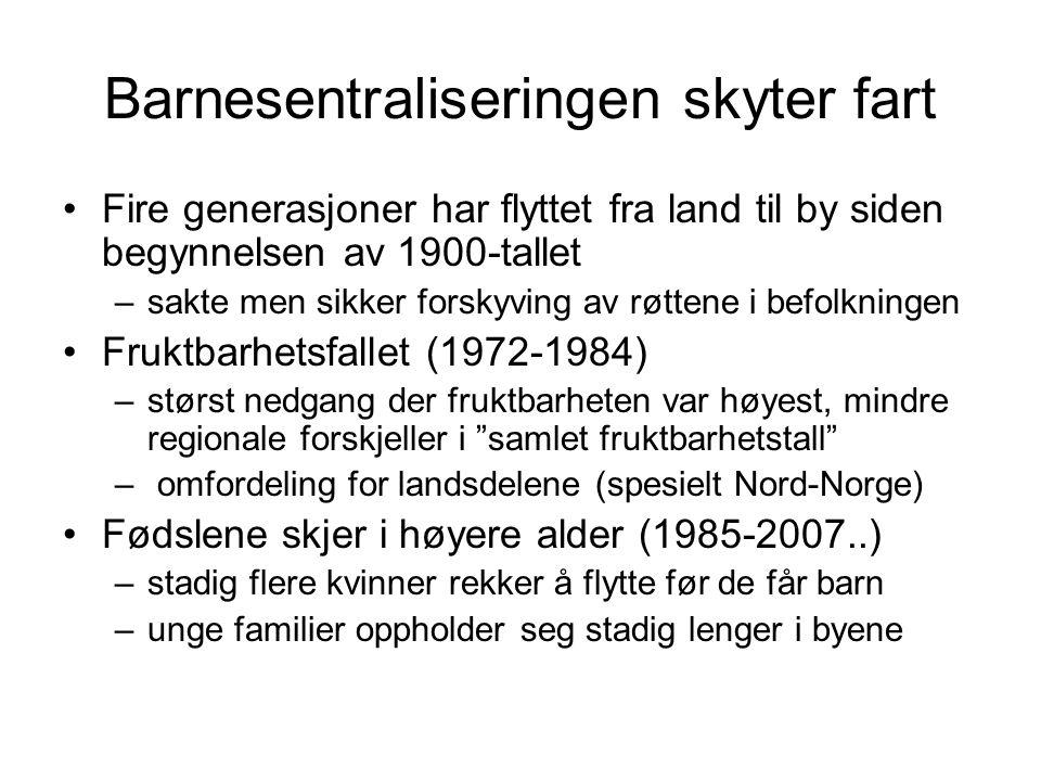 Barnesentraliseringen skyter fart •Fire generasjoner har flyttet fra land til by siden begynnelsen av 1900-tallet –sakte men sikker forskyving av røttene i befolkningen •Fruktbarhetsfallet (1972-1984) –størst nedgang der fruktbarheten var høyest, mindre regionale forskjeller i samlet fruktbarhetstall – omfordeling for landsdelene (spesielt Nord-Norge) •Fødslene skjer i høyere alder (1985-2007..) –stadig flere kvinner rekker å flytte før de får barn –unge familier oppholder seg stadig lenger i byene