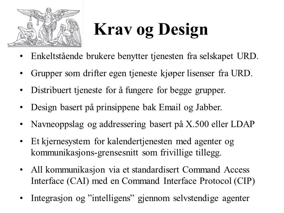 Krav og Design •Enkeltstående brukere benytter tjenesten fra selskapet URD. •Grupper som drifter egen tjeneste kjøper lisenser fra URD. •Distribuert t