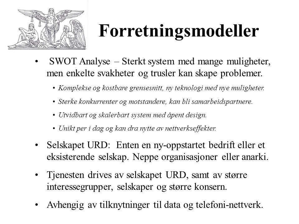 Forretningsmodeller • SWOT Analyse – Sterkt system med mange muligheter, men enkelte svakheter og trusler kan skape problemer. •Komplekse og kostbare