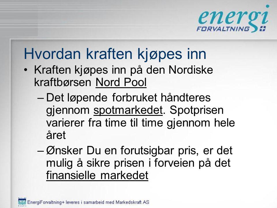 •Kraften kjøpes inn på den Nordiske kraftbørsen Nord PoolNord Pool –Det løpende forbruket håndteres gjennom spotmarkedet.