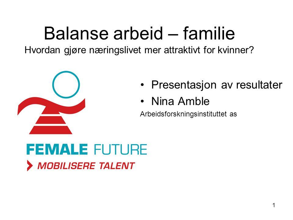 1 Balanse arbeid – familie Hvordan gjøre næringslivet mer attraktivt for kvinner.