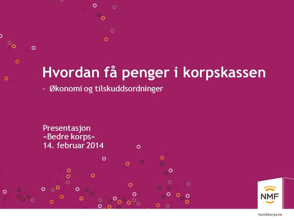 Hvordan få penger i korpskassen - Økonomi og tilskuddsordninger Presentasjon «Bedre korps» 14. februar 2014