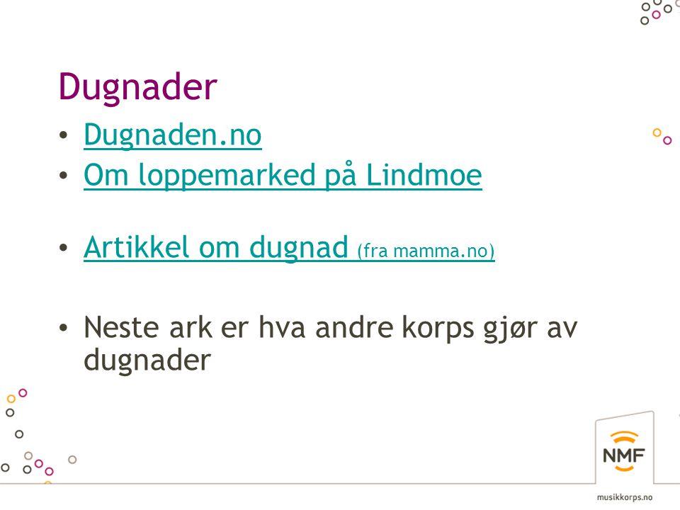Dugnader • Dugnaden.no Dugnaden.no • Om loppemarked på Lindmoe Om loppemarked på Lindmoe • Artikkel om dugnad (fra mamma.no) Artikkel om dugnad (fra mamma.no) • Neste ark er hva andre korps gjør av dugnader