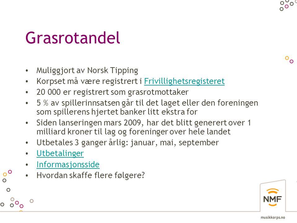 Grasrotandel • Muliggjort av Norsk Tipping • Korpset må være registrert i FrivillighetsregisteretFrivillighetsregisteret • 20 000 er registrert som gr