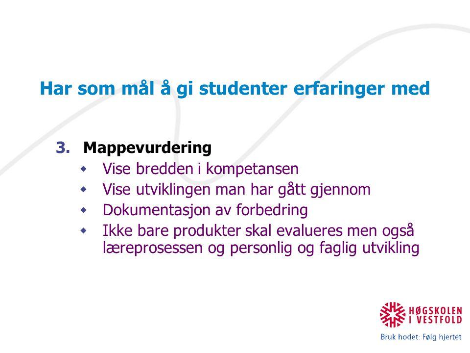 IKT og nye læreprosesser Har som mål å gi studenter erfaringer med 3.Mappevurdering  Vise bredden i kompetansen  Vise utviklingen man har gått gjenn