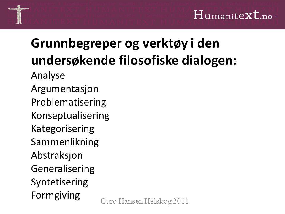Grunnbegreper og verktøy i den undersøkende filosofiske dialogen: Analyse Argumentasjon Problematisering Konseptualisering Kategorisering Sammenliknin
