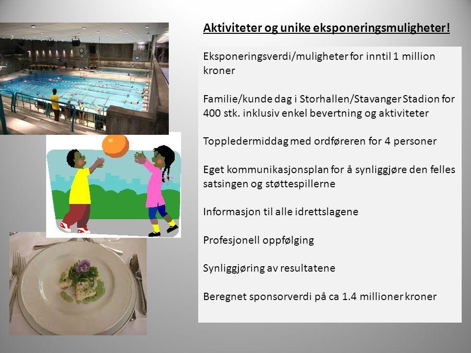 Eksponeringsverdi/muligheter for inntil 1 million kroner Familie/kunde dag i Storhallen/Stavanger Stadion for 400 stk. inklusiv enkel bevertning og ak