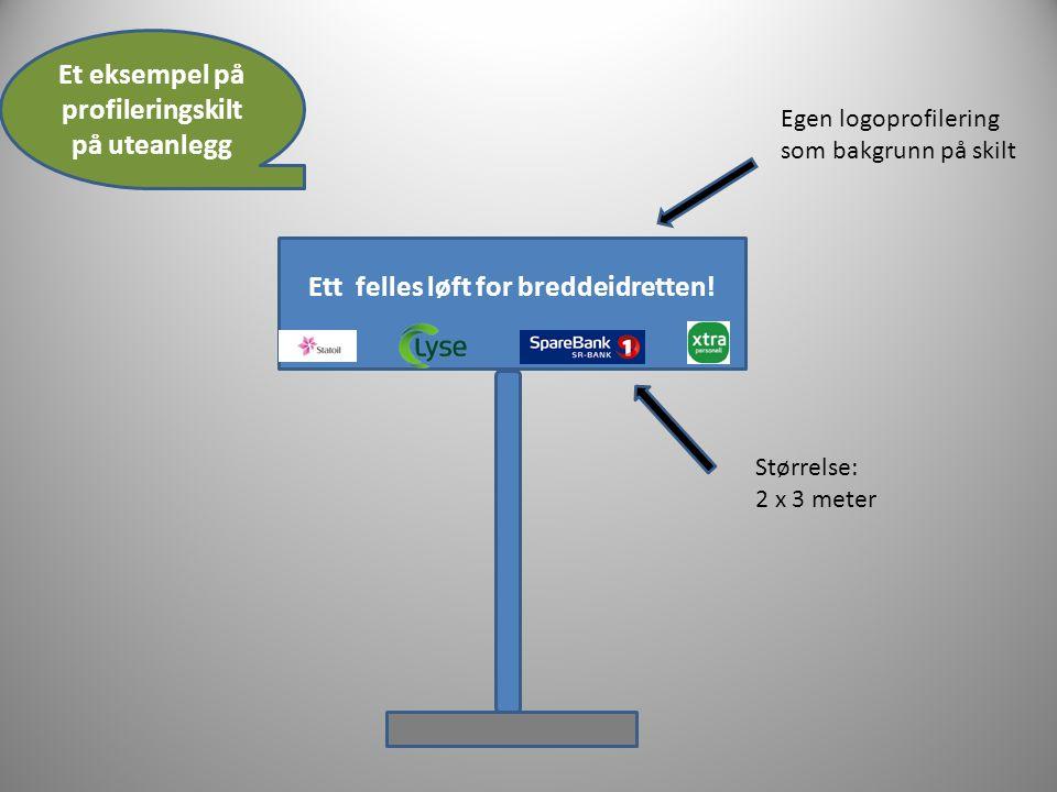 Ett felles løft for breddeidretten! Egen logoprofilering som bakgrunn på skilt Størrelse: 2 x 3 meter Et eksempel på profileringskilt på uteanlegg