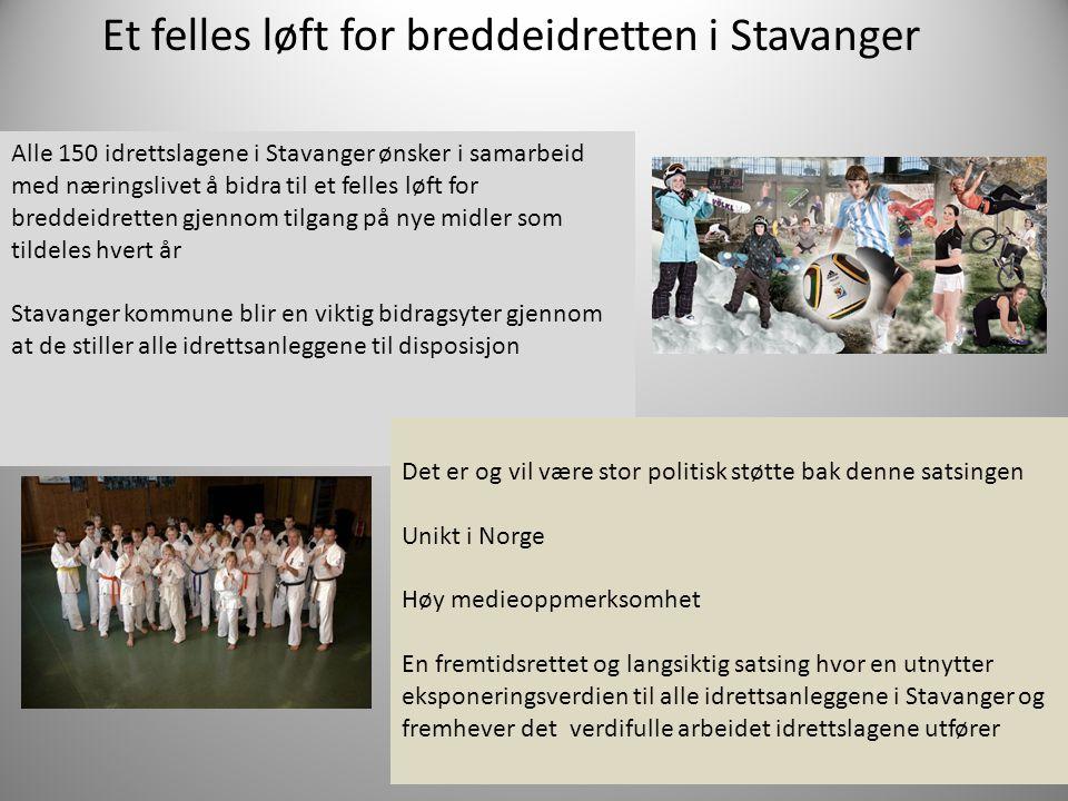 Et felles løft for breddeidretten i Stavanger Alle 150 idrettslagene i Stavanger ønsker i samarbeid med næringslivet å bidra til et felles løft for br