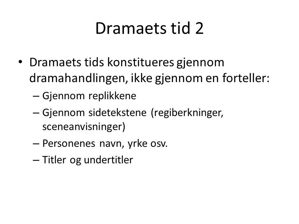 Dramaets tid 2 • Dramaets tids konstitueres gjennom dramahandlingen, ikke gjennom en forteller: – Gjennom replikkene – Gjennom sidetekstene (regiberkn