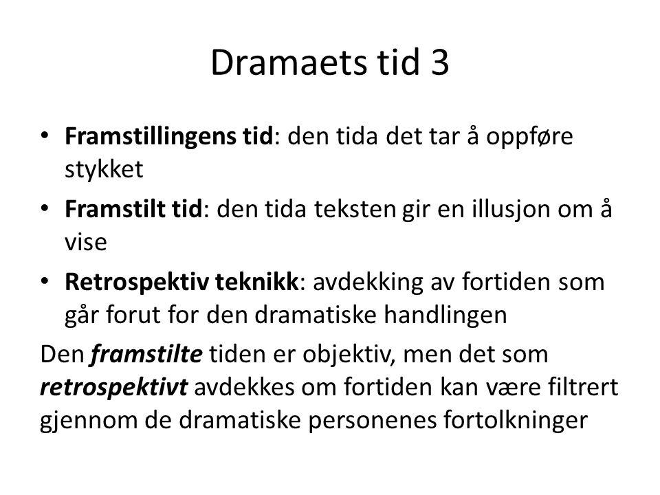 Dramaets tid 3 • Framstillingens tid: den tida det tar å oppføre stykket • Framstilt tid: den tida teksten gir en illusjon om å vise • Retrospektiv te