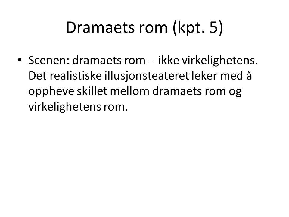 Dramaets rom (kpt. 5) • Scenen: dramaets rom - ikke virkelighetens. Det realistiske illusjonsteateret leker med å oppheve skillet mellom dramaets rom