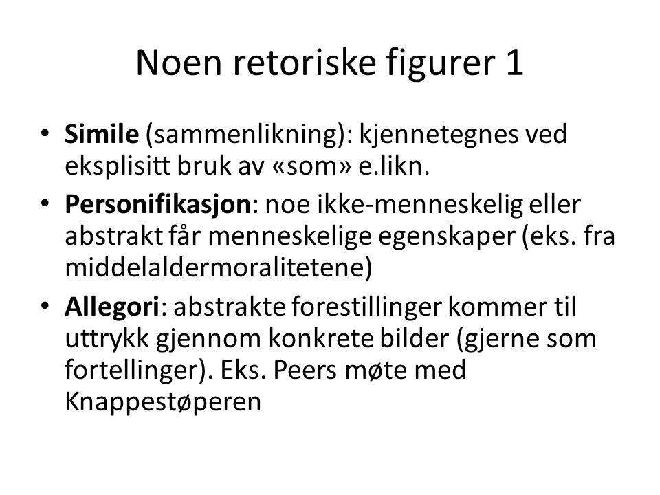 Noen retoriske figurer 1 • Simile (sammenlikning): kjennetegnes ved eksplisitt bruk av «som» e.likn. • Personifikasjon: noe ikke-menneskelig eller abs