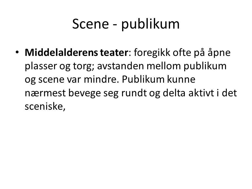 Scene - publikum • Middelalderens teater: foregikk ofte på åpne plasser og torg; avstanden mellom publikum og scene var mindre. Publikum kunne nærmest