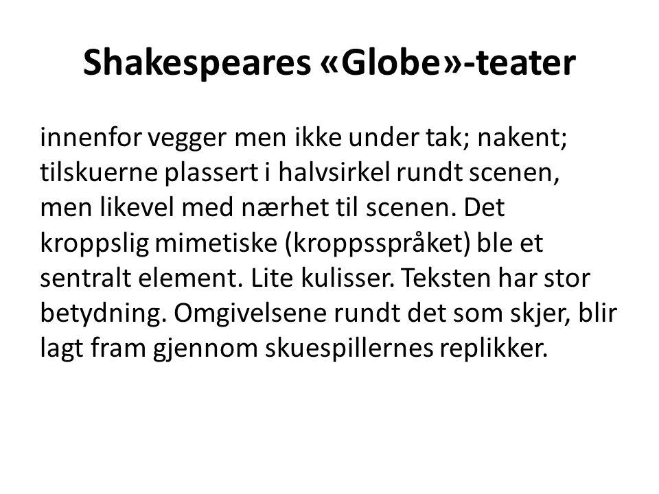 Shakespeares «Globe»-teater innenfor vegger men ikke under tak; nakent; tilskuerne plassert i halvsirkel rundt scenen, men likevel med nærhet til scenen.