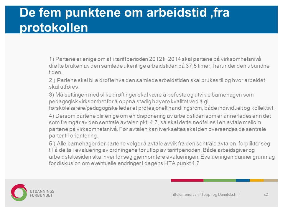 De fem punktene om arbeidstid,fra protokollen 1) Partene er enige om at i tariffperioden 2012 til 2014 skal partene på virksomhetsnivå drøfte bruken av den samlede ukentlige arbeidstiden på 37,5 timer, herunder den ubundne tiden.