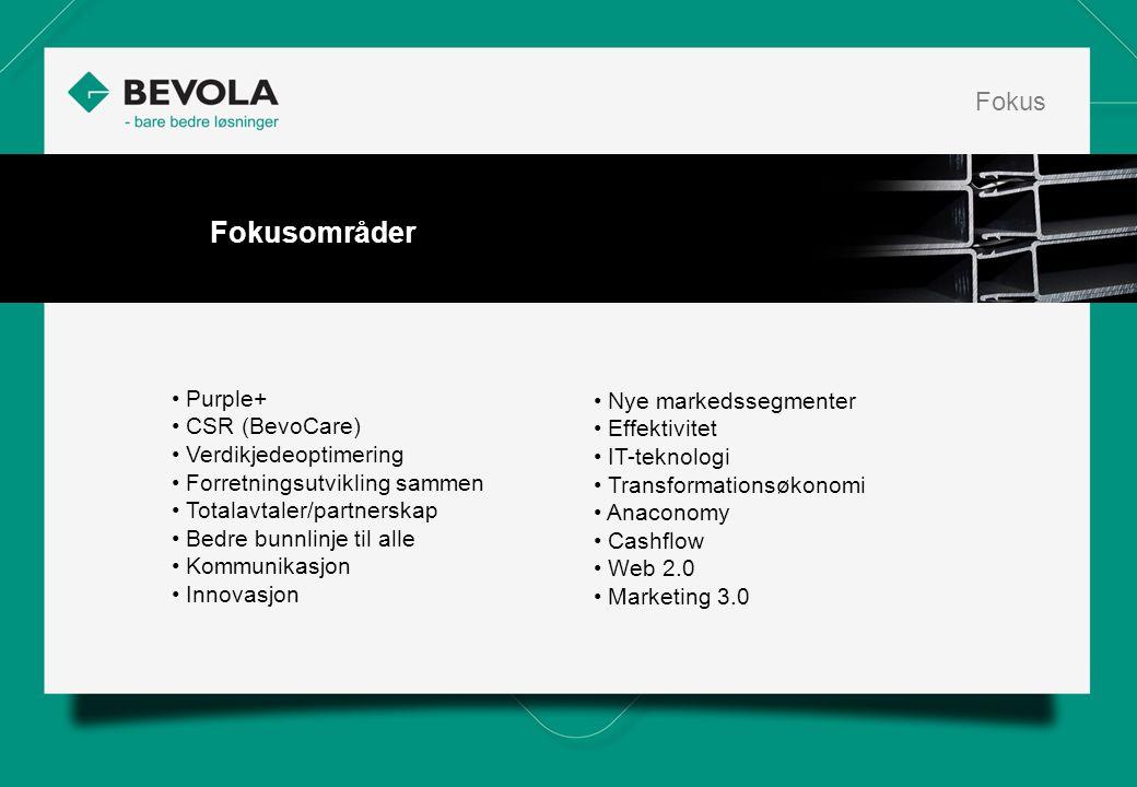 • Purple+ • CSR (BevoCare) • Verdikjedeoptimering • Forretningsutvikling sammen • Totalavtaler/partnerskap • Bedre bunnlinje til alle • Kommunikasjon