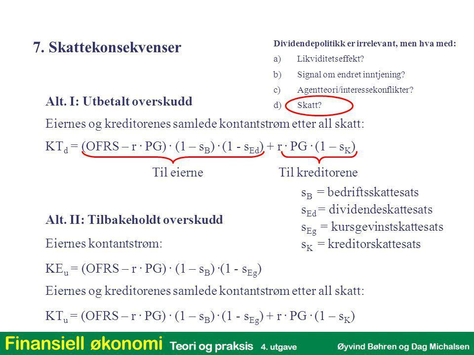 Alt. II: Tilbakeholdt overskudd KE u = (OFRS – r. PG). (1 – s B ). (1 - s Eg ) Eiernes kontantstrøm: KT u = (OFRS – r. PG). (1 – s B ). (1 - s Eg ) +