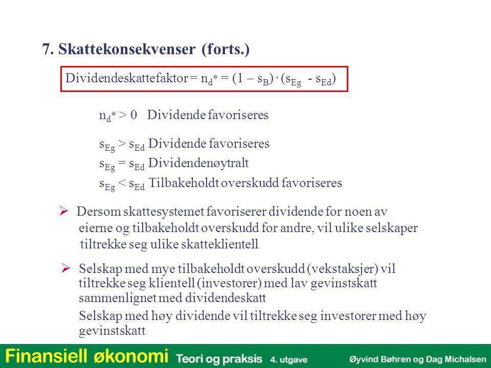 n d * > 0 Dividende favoriseres s Eg > s Ed Dividende favoriseres s Eg = s Ed Dividendenøytralt s Eg < s Ed Tilbakeholdt overskudd favoriseres  Derso
