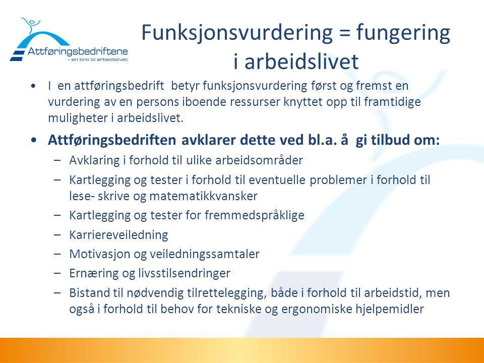 Funksjonsvurdering = fungering i arbeidslivet •I en attføringsbedrift betyr funksjonsvurdering først og fremst en vurdering av en persons iboende ress