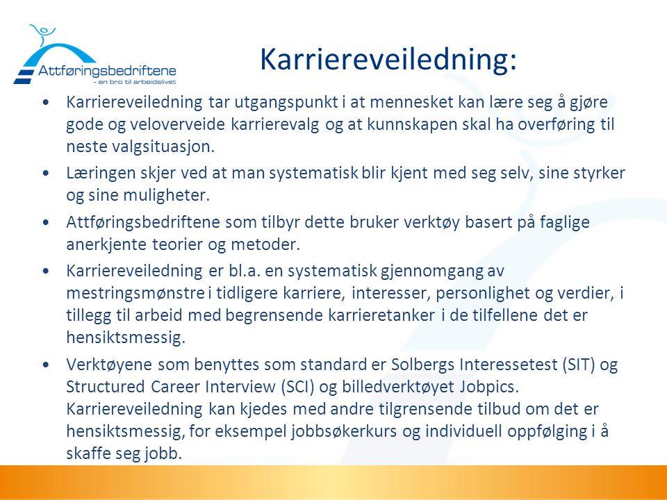 Karriereveiledning: •Karriereveiledning tar utgangspunkt i at mennesket kan lære seg å gjøre gode og veloverveide karrierevalg og at kunnskapen skal h