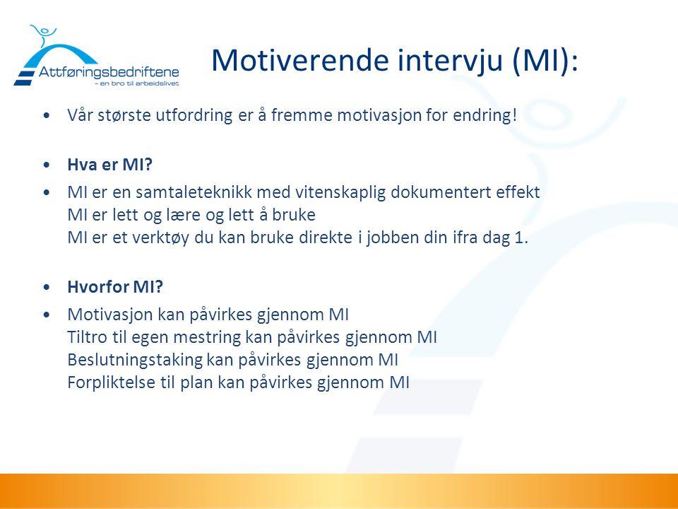 Motiverende intervju (MI): •Vår største utfordring er å fremme motivasjon for endring! •Hva er MI? •MI er en samtaleteknikk med vitenskaplig dokumente