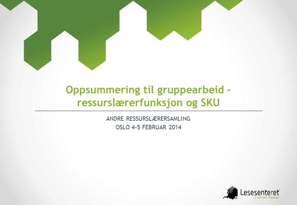 ANDRE RESSURSLÆRERSAMLING OSLO 4-5 FEBRUAR 2014 Oppsummering til gruppearbeid – ressurslærerfunksjon og SKU