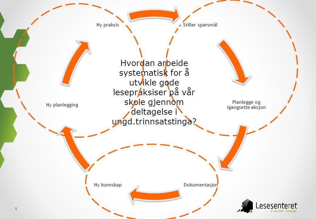 5 Stiller spørsmål Planlegge og igangsette aksjon DokumentasjonNy kunnskap Ny planlegging Ny praksis Hvordan arbeide systematisk for å utvikle gode le