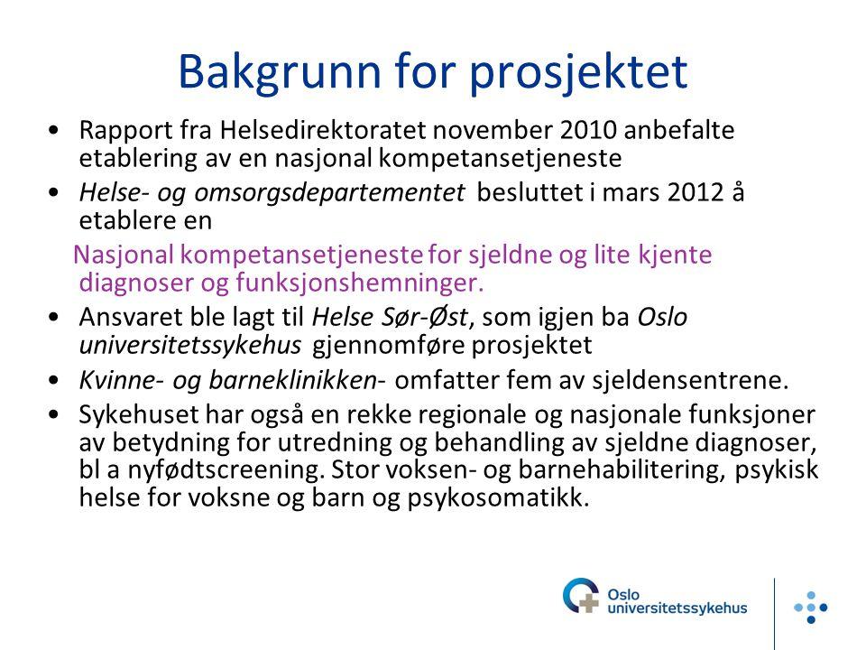 Bakgrunn for prosjektet •Rapport fra Helsedirektoratet november 2010 anbefalte etablering av en nasjonal kompetansetjeneste •Helse- og omsorgsdepartem