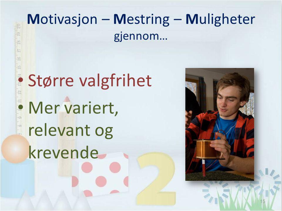 Motivasjon – Mestring – Muligheter gjennom… • Større valgfrihet • Mer variert, relevant og krevende 15