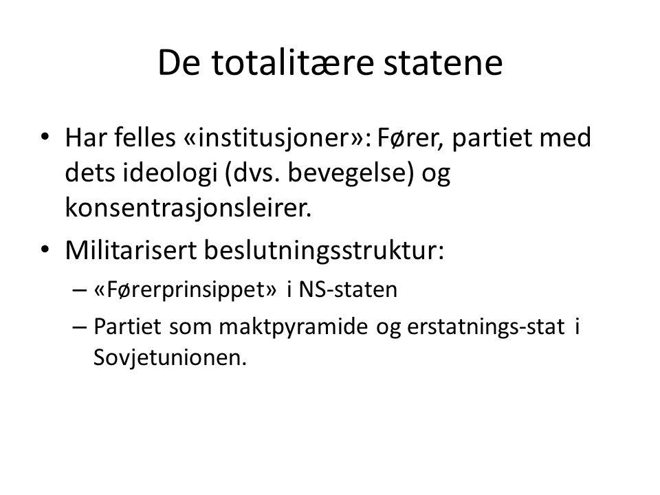 De totalitære statene • Har felles «institusjoner»: Fører, partiet med dets ideologi (dvs. bevegelse) og konsentrasjonsleirer. • Militarisert beslutni