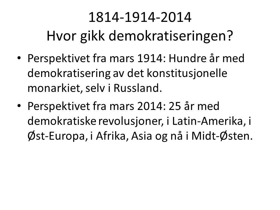 1814-1914-2014 Hvor gikk demokratiseringen? • Perspektivet fra mars 1914: Hundre år med demokratisering av det konstitusjonelle monarkiet, selv i Russ